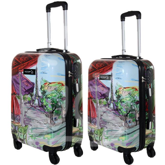 Coppia di 2 trolley da cabina mis.50 e 55 cm fantasia parigi dipinta