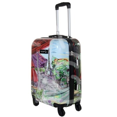 Trolley da cabina  justglam  ultraleggero  55cm fantasia parigi dipinta
