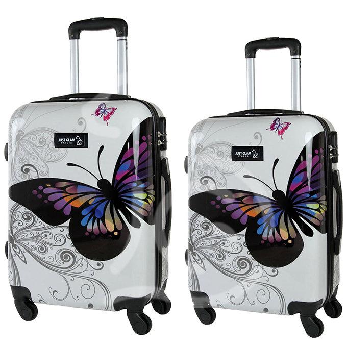 Coppia di 2 trolley da cabina mis.50 e 55 cm fantasia farfalla
