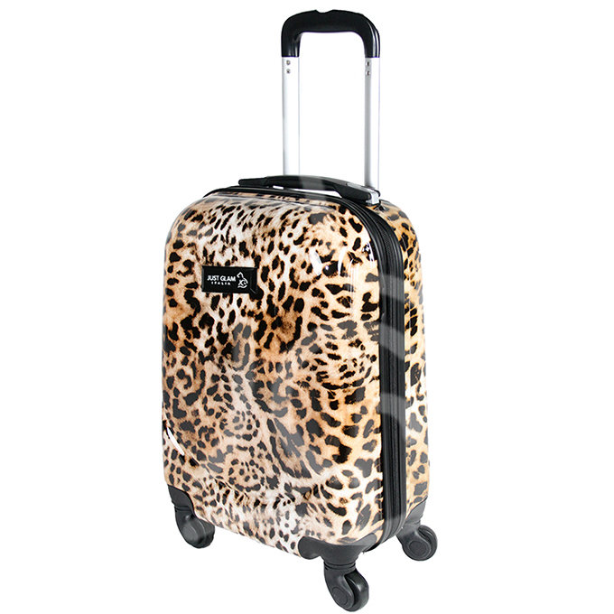 Trolley da cabina justglam  ultraleggero 50cm fantasia leopardo