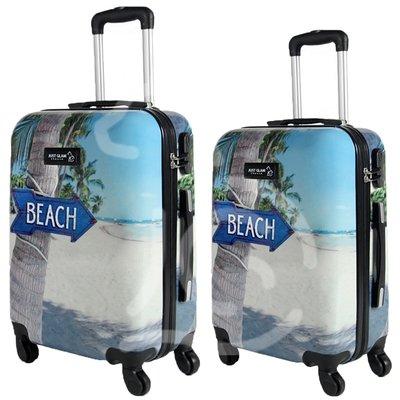 Coppia di 2 trolley da cabina mis.50 e 55 cm fantasia beach