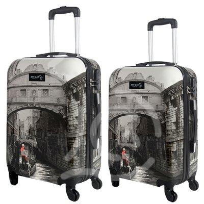 Coppia di 2 trolley da cabina mis.50 e 55 cm fantasia venezia