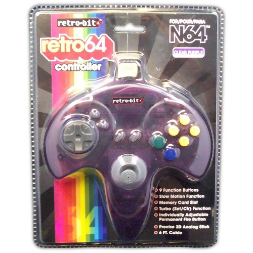 Retro 64 Controller for N64 (clear purple) - Game Accessory - New