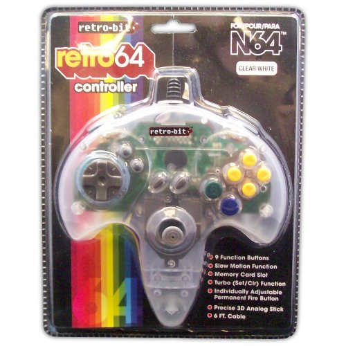 Retro 64 Controller for N64 (clear white) - Game Accessory - New