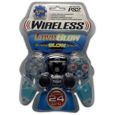 Lava Glow Wireless Controller for PS2 (Blue) - Game Accessory - New