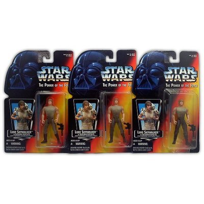Star Wars Power of the Force Luke Skywalker in Dagobah Fatigues Set (all three variants)  - Action Figure - New