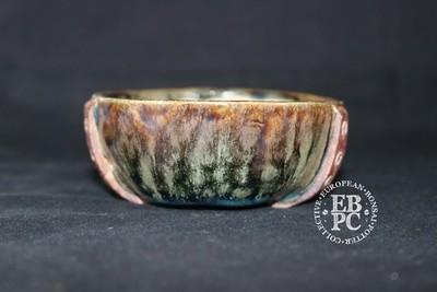 SUTEKI - 9.4cm; Accent / mame; Belt and rivet design; Round; Glazed; Browns; greens, blue; EBPC Dual Stamped Piece; Simon Haddon