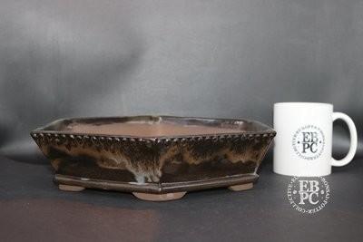 Mirt Pots - 26cm; Glazed; Hexagonal; Running glaze; Browns; White