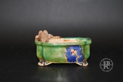 Lotus Bonsai Studio - 10cm; Handcrafted; Shohin; Rectangle; Green; Carved; Sculpted; Octopus; Koi carp fish; EBPC Stamped