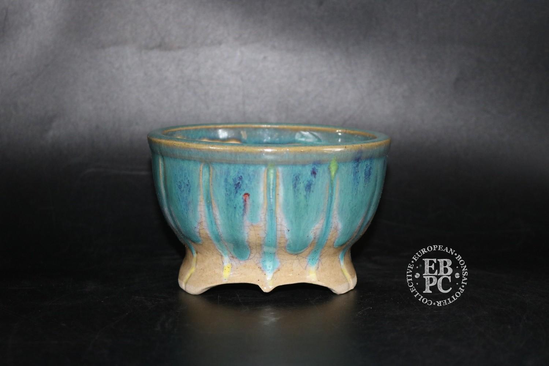SOLD - Pierre Rousseau - 12.4cm; Glazed; Round; Blues; Reds;