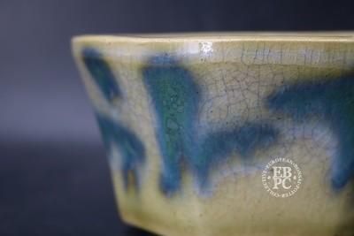 Pierre Rousseau - 12cm; Glazed; Round; Blues; Oribe; Crackle glaze