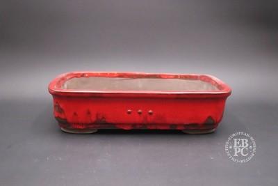 Mirt Pots - 33.5cm; Glazed; Rectangle; Rivet / stud detail; Red 'Chicken Blood' Glaze;