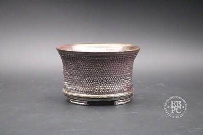 SOLD - Englert Keramik - 13.5cm; Round; Cascade; Raised pattern detail; Rich Brown; Wood-fired; Martin Englert