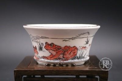 Englert Keramik - 11.8cm; Porcelain; Painted; Shohin, Round, Semi-cascade; Frogs; Black; Red; Martin Englert