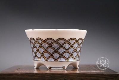 Englert Keramik - 7.6cm; Porcelain; Painted; Round, Semi-cascade; Japanese Waves; Black; Gold; Martin Englert