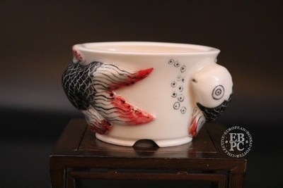 Stone Monkey Ceramics - 10.1cm; Sculpted & Hand-Painted; Porcelain; Shohin; Round; Red & Black; Goldfish Design; Andrew Pearson