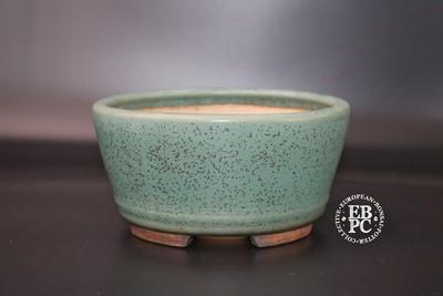 Ian Baillie - 16.5cm; Glazed; Round; Thrush egg glaze; L Green; Brown