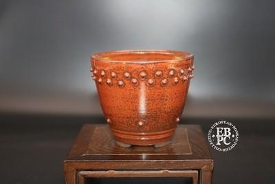 SOLD - Ian Baillie - 9.5cm; Glazed; Round; Cascade; Shohin; Studs; Red; Metallic Gunmetal