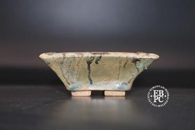 Carina Jern - 8.8cm; Mame; Accent; Kusamono; glazed; greens; brown; cream