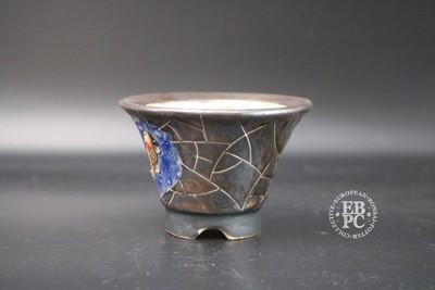 SOLD - Lotus Bonsai Studio - * EBPC Stamped* ; 9.8cm; Round; Golden Brown; blue; sculpted; Koi Carp;