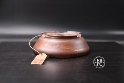 SOLD - Amdouni Bonsai Pots - 12.3cm; Mostly Unglazed; Round; Shohin; White dash of glaze; Sami Amdouni