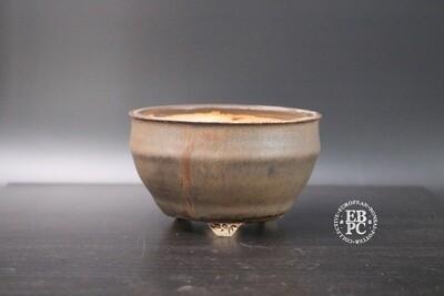 EBL Pots - 12.1cm; shohin; round; s/cascade; browns; bronzed metallic effect; detailed feet; Elsebeth Ludwigsen