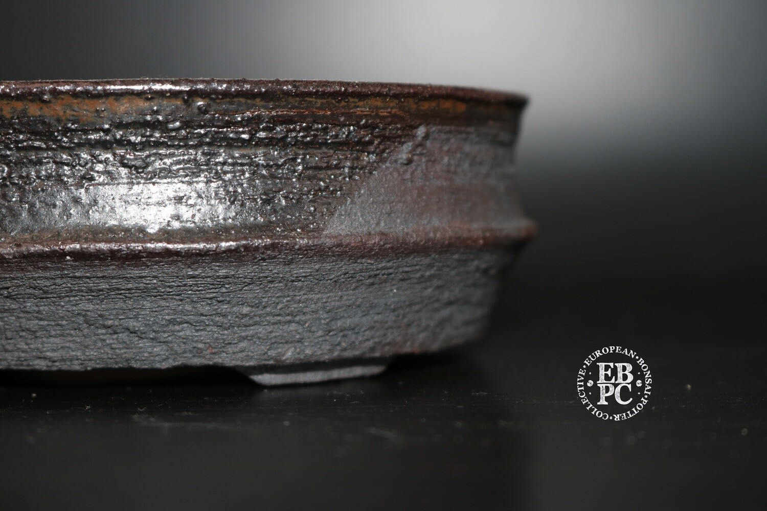 SOLD - EBL Pots - 13.4cm; Shohin; Oval; Brown; Charcoal; Reddy brown