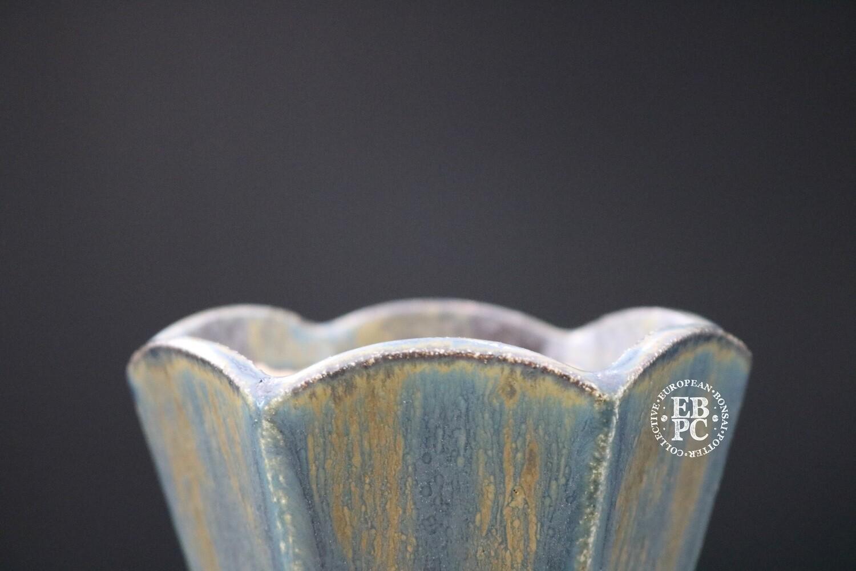 SUTEKI - 9cm; Accent/small shohin; Hexagon Design; Glazed; Greens;  Browns; EBPC Dual Stamped Piece; Simon Haddon