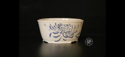 Amdouni Bonsai Pots - 10.1cm; Hand-Painted;  Chrysanthemum; Round; Semi-cascade; Accent; Porcelain; Sami Amdouni