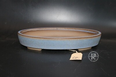 Roman Husmann - 28.2cm; Glazed; Oval; Baby Blue Glaze; Browns