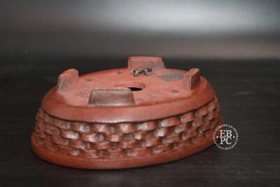 SOLD - M. J. G. Ceramica - 16cm: Unglazed: Oval; Carved; EBPC Stamped; Maria Gonzalez
