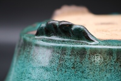 SOLD - M. J. G. Ceramica - 33cm; Oval; Stunning Green Glaze; Cloud feet; Maria Gonzalez
