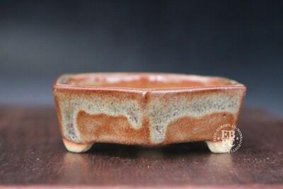 Guerao Bonsai Pots; 8.1cm; Glazed; Hexagon; Mame; Accent; Light browns; Guerao Pot