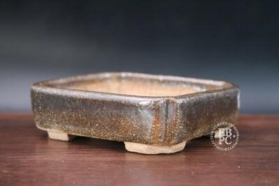 Guerao Bonsai Pots; 10.9cm; Glazed; Small shohin; Rectangle; Brown; Guerao Pot