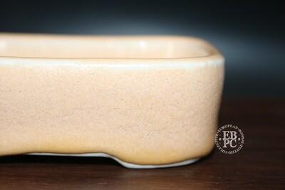SOLD - Guerao Bonsai Pots; 11cm; Glazed; Small shohin; Rectangle; Peach; Guerao Pot