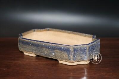 Guerao Bonsai Pots; 12.2cm; Glazed; Small shohin; Rectangle; Blues; Guerao Pot