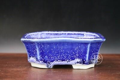SOLD - Guerao Bonsai Pots; 12cm; Micro-crystalline Glazed; Shohin; Rectangle; Blue / Purple; Guerao Pot