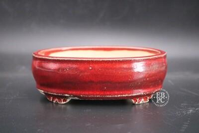SOLD - M.B. Bonsaischalen - 15.5cm; Glazed; Oval; Blood Red ; Sang de Boeuf; Marc Berenbrinker