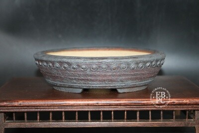 SOLD - Ian Baillie - 18cm; Drum Style Pot; Round; Superb finish; Browns; Recessed feet;