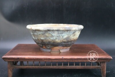 SOLD - Ian Baillie - 16.7cm; Glazed; Round; Cream; Brown; Aged-looking glaze