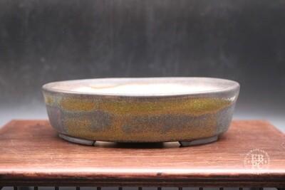 Sabine Besnard - 17.4cm; Oval; Glazed, Translucent Green; Browns; Crackle Glaze