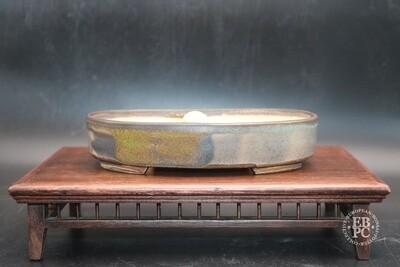 Sabine Besnard - 18.9cm; Oval; Glazed, Translucent Green; Browns; Crackle Glaze