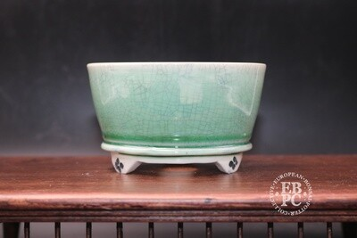 EBL Pots - 10.6cm; Porcelain; Round; Shohin pot; Celadon Crackle glaze; Light Green; Elsebeth Ludwigsen