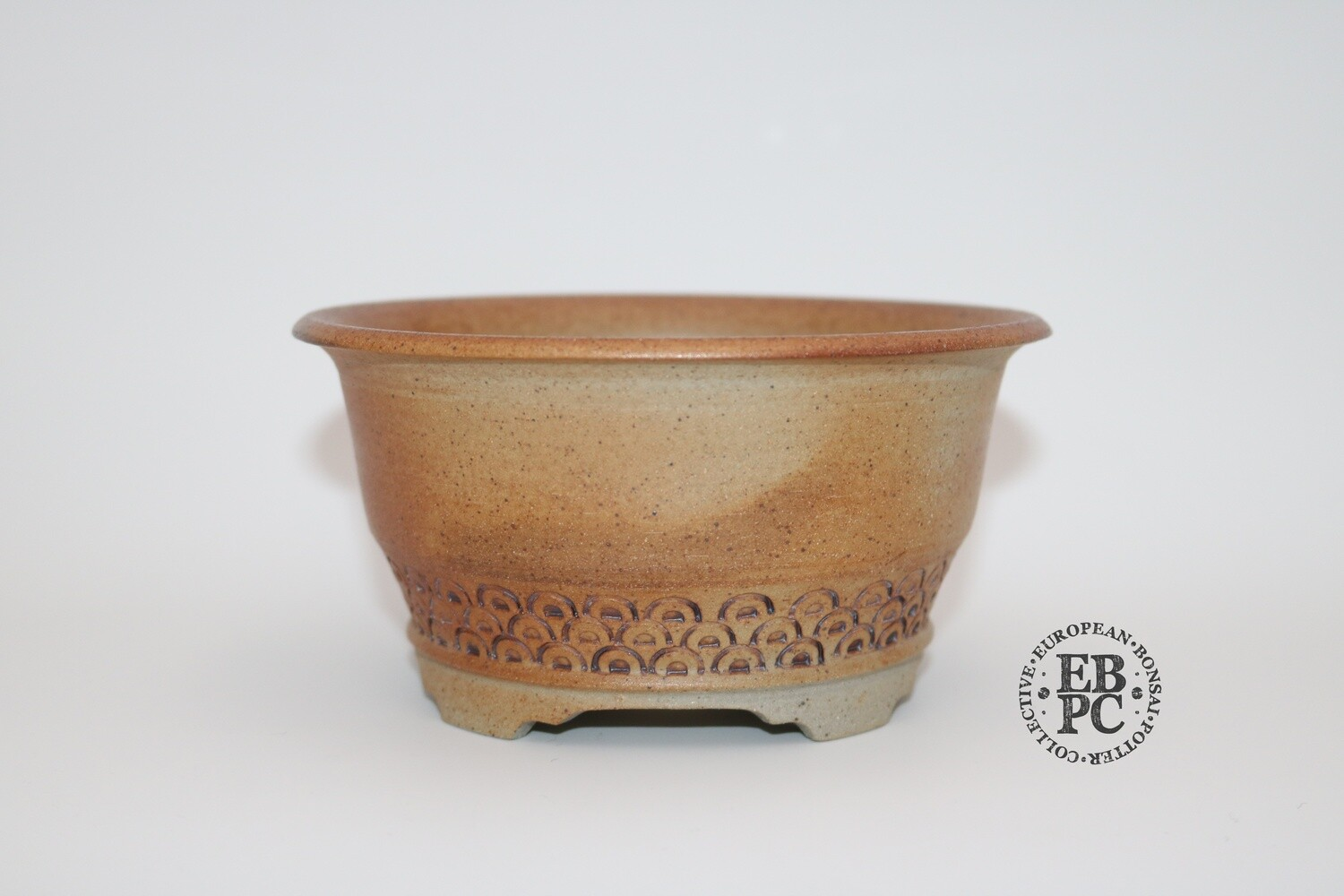 Gramming Pots - 15cm; Incised wave pattern; Round; Unglazed; Light Clay; Varied Hues of Brown; Wood-fired; Tomas Gramming