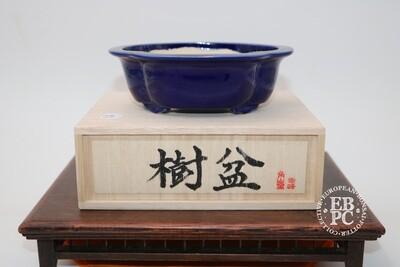 KOHO of Tokoname -  EBPC Dual stamped pot; 15.8cm; Mokko shape; Ruri deep blue glaze; Signed Box & Cloth; 'Honorary European'; Limited Edn;