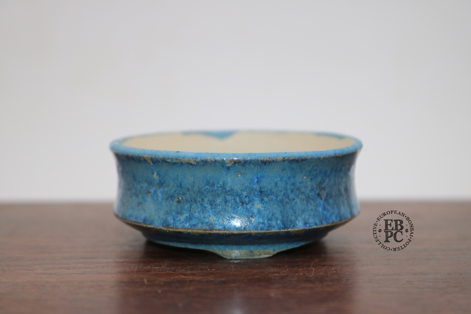 SOLD - PAS Pots - 7,6cm  Round; Mame / Accent pot; Hand Thrown; Stunning Blues over Cream; Detailed foot ring; Patricia