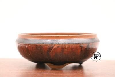 PAS Pots - 11.2cm  Round; Shohin / Accent pot; Hand Thrown; Reddish-brown Glaze; Glaze drips; Detailed foot ring; Patricia