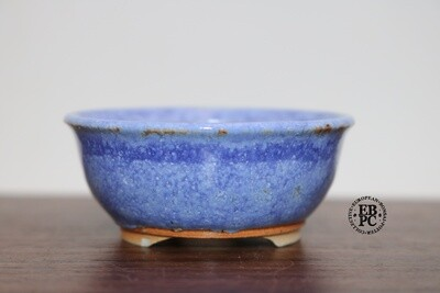 PAS Pots - 6.9cm  Round; Mame / Accent pot; Hand Thrown;   Blues, Browns, Detailed foot ring; Patricia