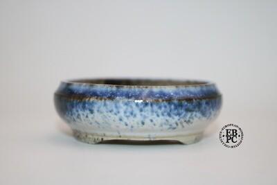 PAS Pots - 10.9cm  Round; Shohin / Accent pot; Hand Thrown; Blue & Tan/Light Brown Glaze; Detailed foot ring; Patricia
