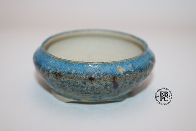 SOLD - PAS Pots - 7.6cm  Round; Hand Thrown; Blue & Cream Glaze; Detailed foot ring; Patricia